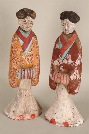 Pair of Chinese Pottery Attendants,