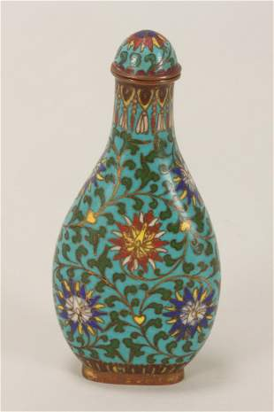 Chinese Late Qing Dynasty Cloisonne Snuff Bottle,