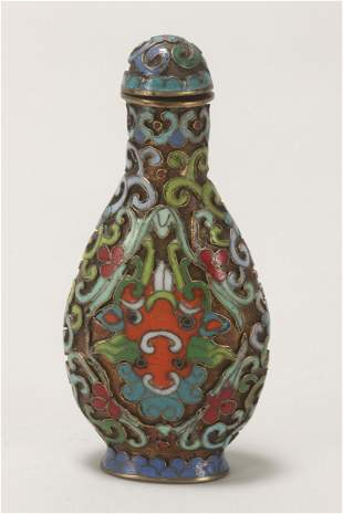 Chinese Cloisonne Snuff Bottle and Stopper,