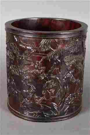 Large Chinese Hardwood Brush Pot,