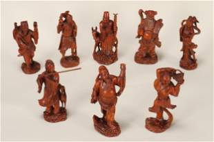 Set of Eight Chinese Carved Boxwood Figures,
