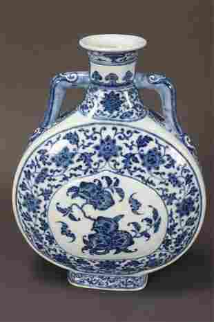 Chinese Blue and White Porcelain Moon Flask,