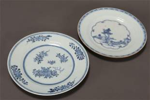 Two Chinese Qing Dynasty Blue & White Plates,