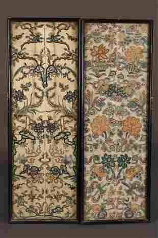 Two Chinese Qing Dynasty Embroidered Textiles,