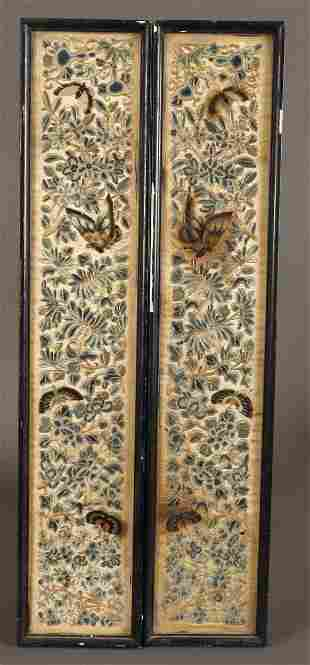 Pair of Late Qing Chinese Embroidered Textiles,