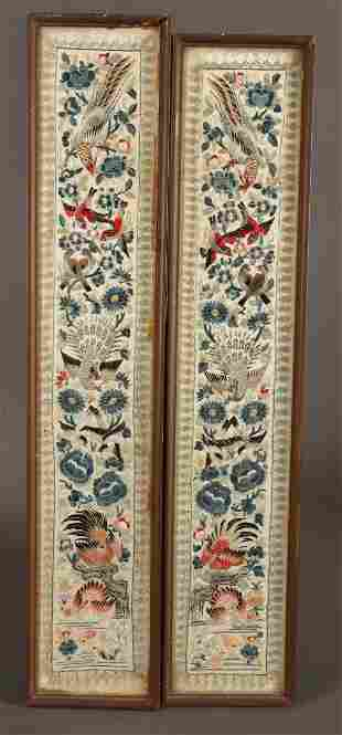 Pair of Framed Chinese Embroidered Sleeve Panels,