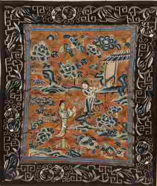 Framed Chinese Late Qing Embroidered Textile,
