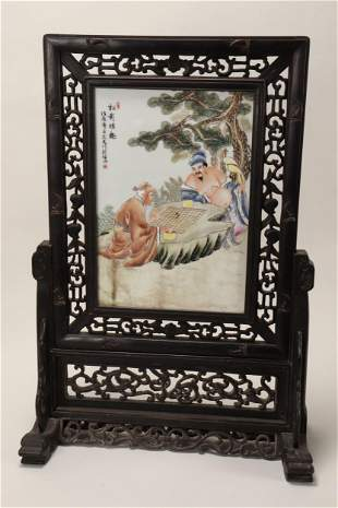 Chinese Porcelain Table Screen,