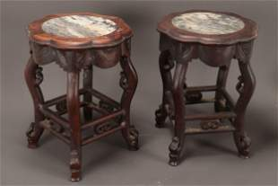 Pair of Chinese Marble and Hardwood Stands,