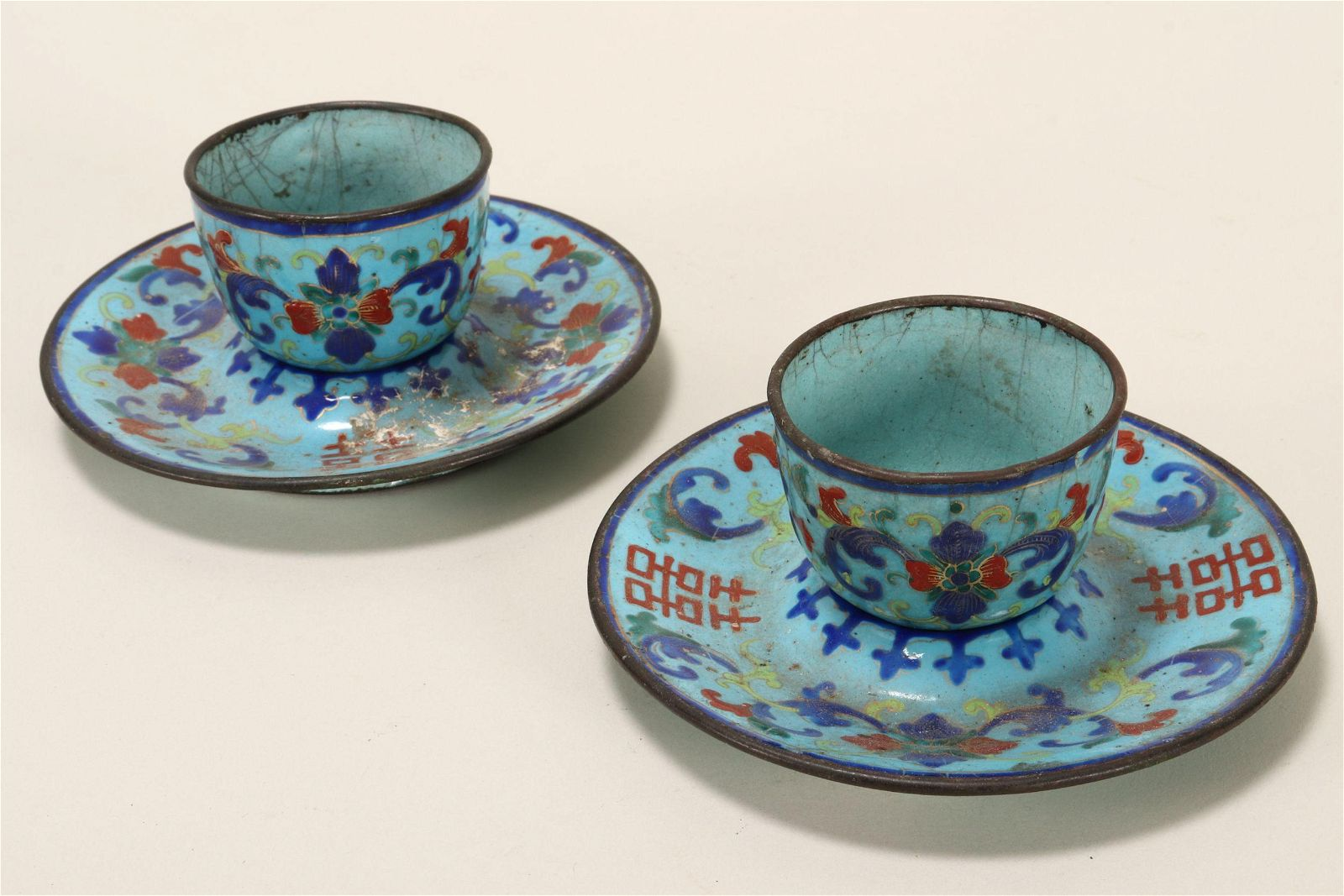 Pair of Chinese Miniature Enamel Bowls & Saucers,