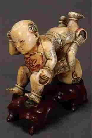 Chinese Late Qing Carved Figure Group,