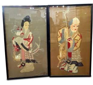 Pair of Late Qing Dynasty Embroidered Panels,