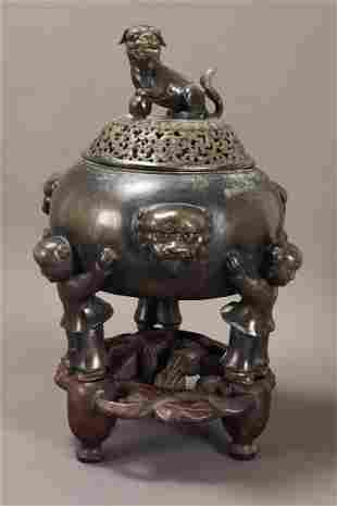 Chinese Bronze Footed Censer and Stand,