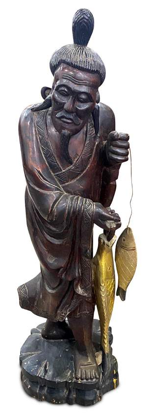 Large Carved Chinese Figure of a Fisherman,