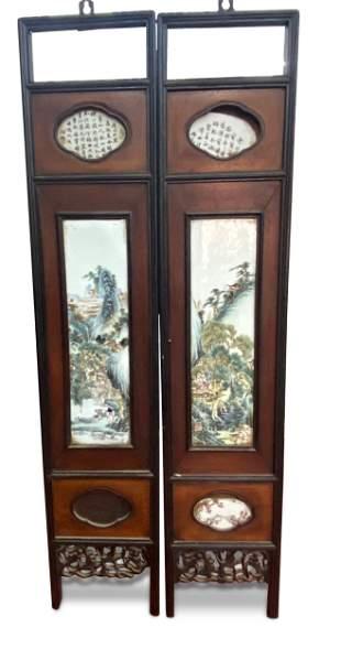 Pair of Framed Chinese Porcelain Panels,