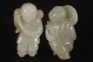 Two Chinese White Jade Figures,