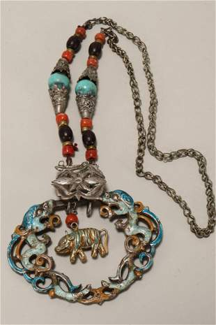 Chinese Silver and Enamel Necklace,
