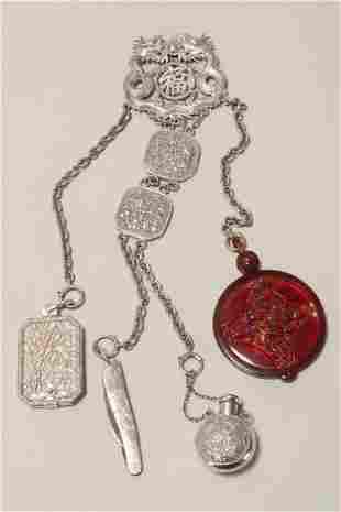 Wonderful Chinese Silver Chatelaine,