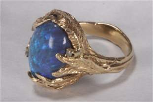 Lady's 14ct Yellow Gold and Australian Opal Ring,