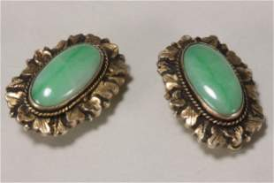 Pair of Jade and Gilt Silver Earrings,