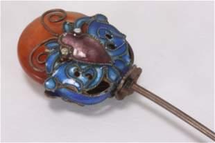 Chinese Enamel and Carnelian Hair Pin,