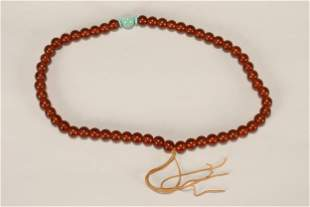 Chinese Amber and Bead Necklace,