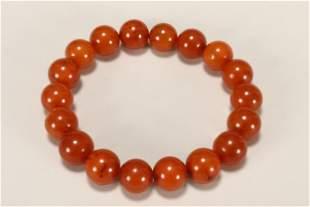 Chinese Amber Bead Bracelet,