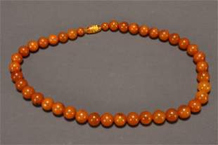 Chinese Amber Bead Necklace,