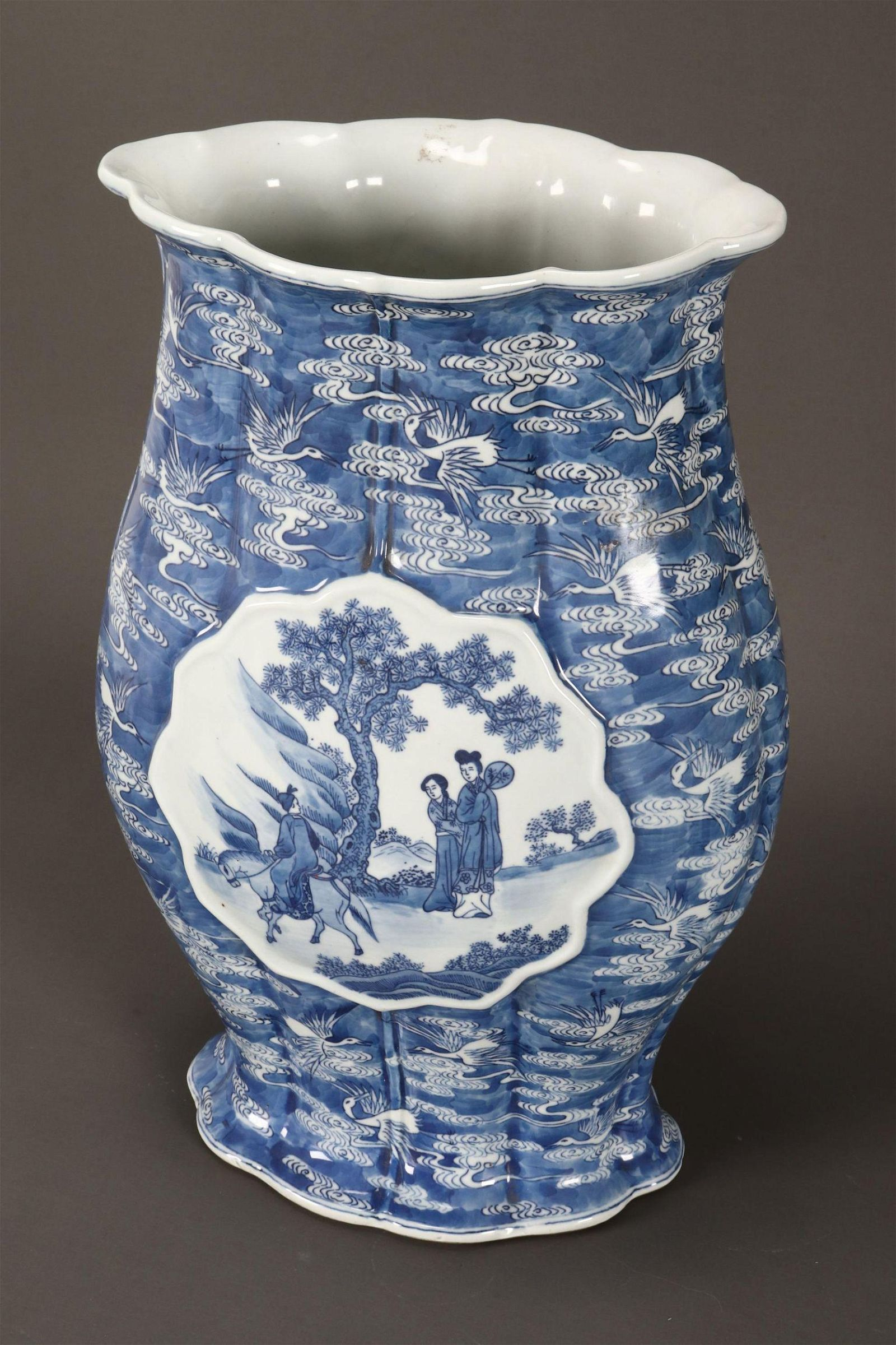 Unusual Chinese Late Qing Dynasty Blue and White