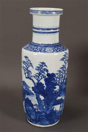 Chinese Qing Dynasty Blue and White Porcelain Vase
