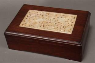 Chinese Jade and Wooden Scholars Box,
