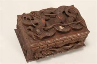 Chinese Carved Wooden Box,