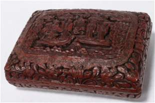 Chinese Red Lacquer Box and Cover,