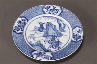 Chinese Blue and White Porcelain Plate,