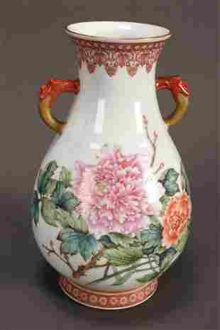 Chinese Twin Handled Porcelain Vase,