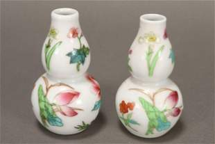 Pair of Chinese Miniature Porcelain Vases,