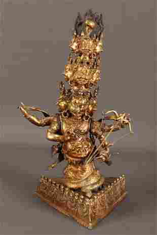 Chinese Gilt Metal Multi-Headed Buddha,