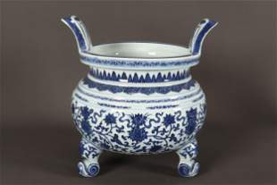 Large Chinese Blue and White Porcelain Twin