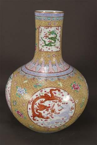 Chinese Yellow Ground Famille Rose Porcelain Vase,