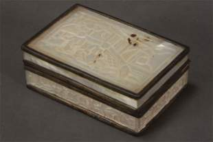 Chinese Mother of Pearl Pill Box and Cover,