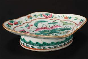 Chinese Qing Dynasty Footed Porcelain Dish,