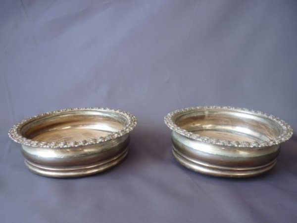 Pair of Sheffield Silver Plate Wine Coasters
