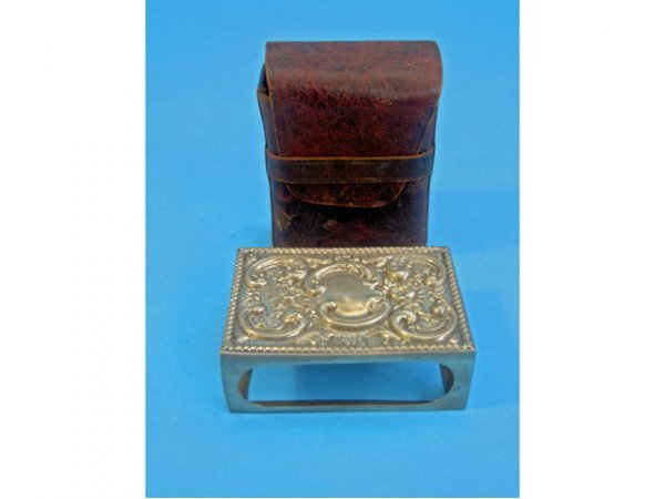 Edwardian Sterling Card Box and Leather Case,