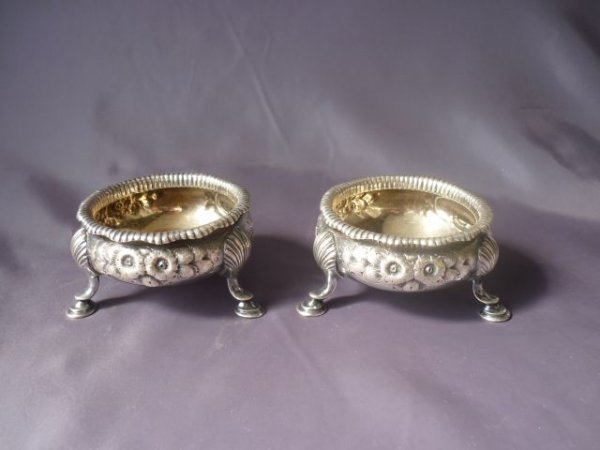 Pair of 19th Century Silver Plate Salts,