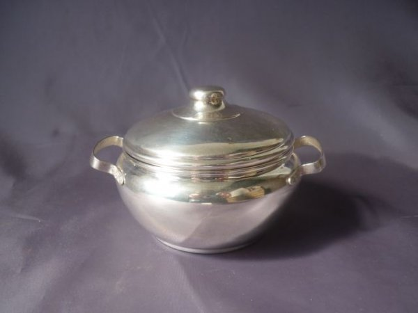 German Silver Twin Handled Bowl and Cover,