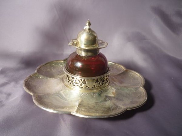 Wonderful Victorian Sterling Silver and Ruby Glass