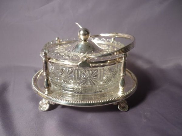 Early 20th Century Glass and Silver Plate Butter