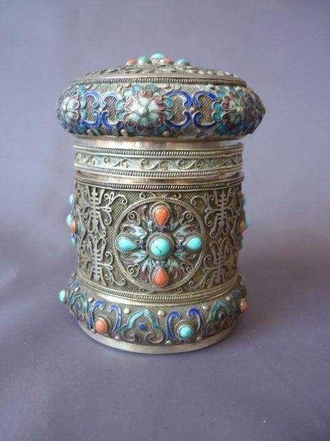 Sino Tibetan Silver and Enamel Jar and Cover,