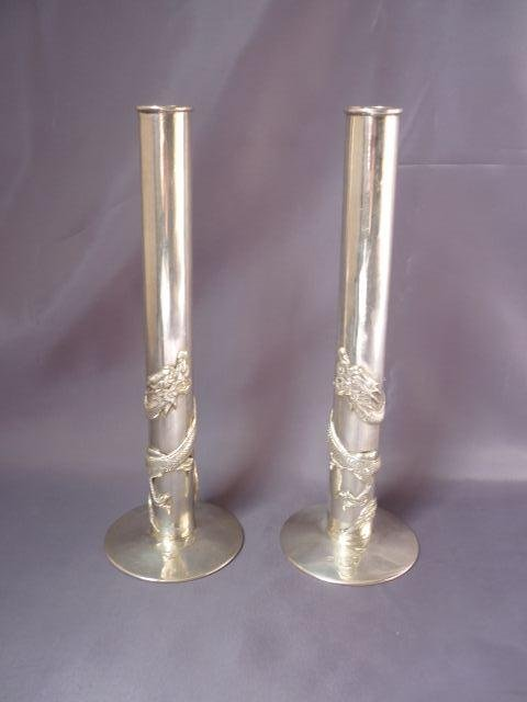 13: Pair of 19th Century Chinese Silver (900) Posy Vase