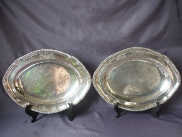 19A: Rare Pair of George II Irish Sterling Silver Meat